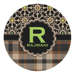 Moroccan Mosaic & Plaid Round Decal - Custom Size (Personalized)