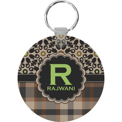 Moroccan Mosaic & Plaid Round Keychain (Personalized)