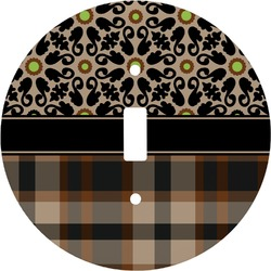 Moroccan Mosaic & Plaid Round Light Switch Cover (Personalized)