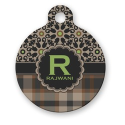 Moroccan Mosaic & Plaid Round Pet Tag (Personalized)