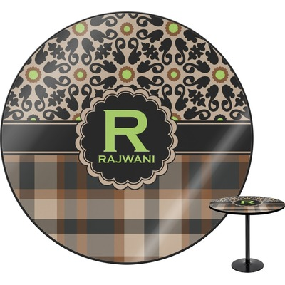 Moroccan Mosaic & Plaid Round Table (Personalized)