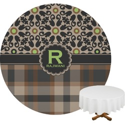 Moroccan Mosaic & Plaid Round Tablecloth (Personalized)