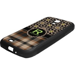 Moroccan Mosaic & Plaid Rubber Samsung Galaxy 4 Phone Case (Personalized)