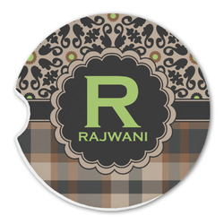 Moroccan Mosaic & Plaid Sandstone Car Coasters (Personalized)