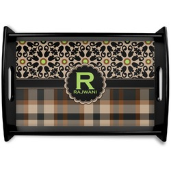 Moroccan Mosaic & Plaid Black Wooden Tray (Personalized)