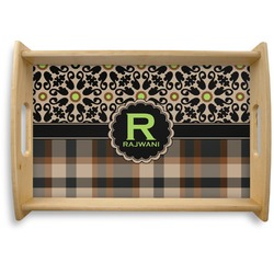 Moroccan Mosaic & Plaid Natural Wooden Tray (Personalized)