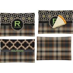 Moroccan Mosaic & Plaid Set of 4 Glass Rectangular Appetizer / Dessert Plate (Personalized)