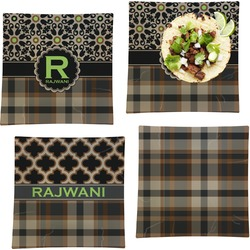 Moroccan Mosaic & Plaid Set of 4 - Square Dinner Plates (Personalized)