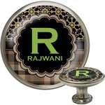 Moroccan Mosaic & Plaid Cabinet Knob (Silver) (Personalized)