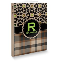 """Moroccan Mosaic & Plaid Softbound Notebook - 7.25"""" x 10"""" (Personalized)"""