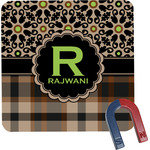 Moroccan Mosaic & Plaid Square Fridge Magnet (Personalized)