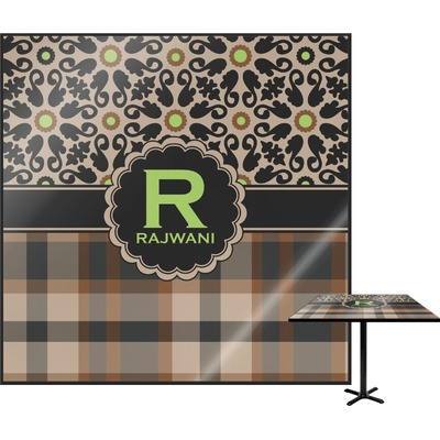 Moroccan Mosaic & Plaid Square Table Top (Personalized)
