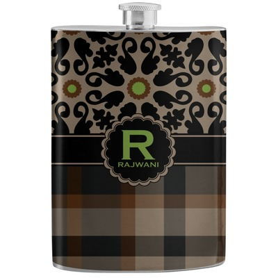 Moroccan Mosaic & Plaid Stainless Steel Flask (Personalized)