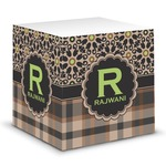 Moroccan Mosaic & Plaid Sticky Note Cube (Personalized)