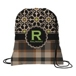 Moroccan Mosaic & Plaid Drawstring Backpack (Personalized)