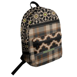 Moroccan Mosaic & Plaid Student Backpack (Personalized)