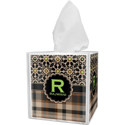 Moroccan Mosaic & Plaid Tissue Box Cover (Personalized)