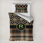 Moroccan Mosaic & Plaid Toddler Bedding w/ Name and Initial