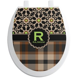 Moroccan Mosaic & Plaid Toilet Seat Decal - Round (Personalized)