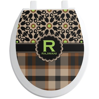 Moroccan Mosaic & Plaid Toilet Seat Decal (Personalized)