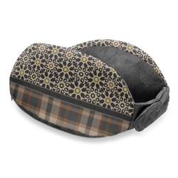 Moroccan Mosaic & Plaid Travel Neck Pillow (Personalized)
