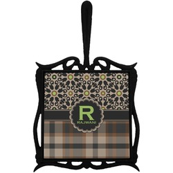 Moroccan Mosaic & Plaid Trivet with Handle (Personalized)