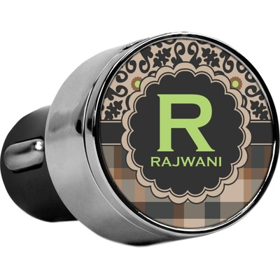 Moroccan Mosaic & Plaid USB Car Charger (Personalized)