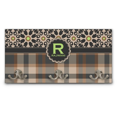 Moroccan Mosaic & Plaid Wall Mounted Coat Rack (Personalized)