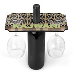 Moroccan Mosaic & Plaid Wine Bottle & Glass Holder (Personalized)