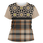 Moroccan Mosaic & Plaid Women's Crew T-Shirt (Personalized)