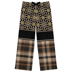 Moroccan Mosaic & Plaid Womens Pajama Pants - XL (Personalized)