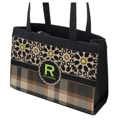 Moroccan Mosaic & Plaid Zippered Everyday Tote (Personalized)