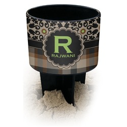 Moroccan Mosaic & Plaid Black Beach Spiker Drink Holder (Personalized)