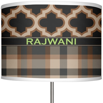 """Moroccan & Plaid 13"""" Drum Lamp Shade (Personalized)"""