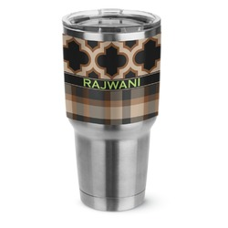 Moroccan & Plaid Stainless Steel Tumbler - 30 oz (Personalized)