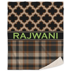 Moroccan & Plaid Sherpa Throw Blanket (Personalized)