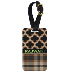 Moroccan & Plaid Aluminum Luggage Tag (Personalized)