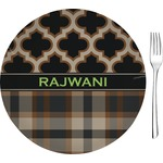 """Moroccan & Plaid Glass Appetizer / Dessert Plates 8"""" - Single or Set (Personalized)"""