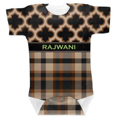 Moroccan & Plaid Baby Bodysuit (Personalized)