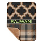 """Moroccan & Plaid Sherpa Baby Blanket 30"""" x 40"""" (Personalized)"""