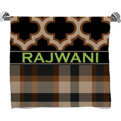 Moroccan & Plaid Full Print Bath Towel (Personalized)