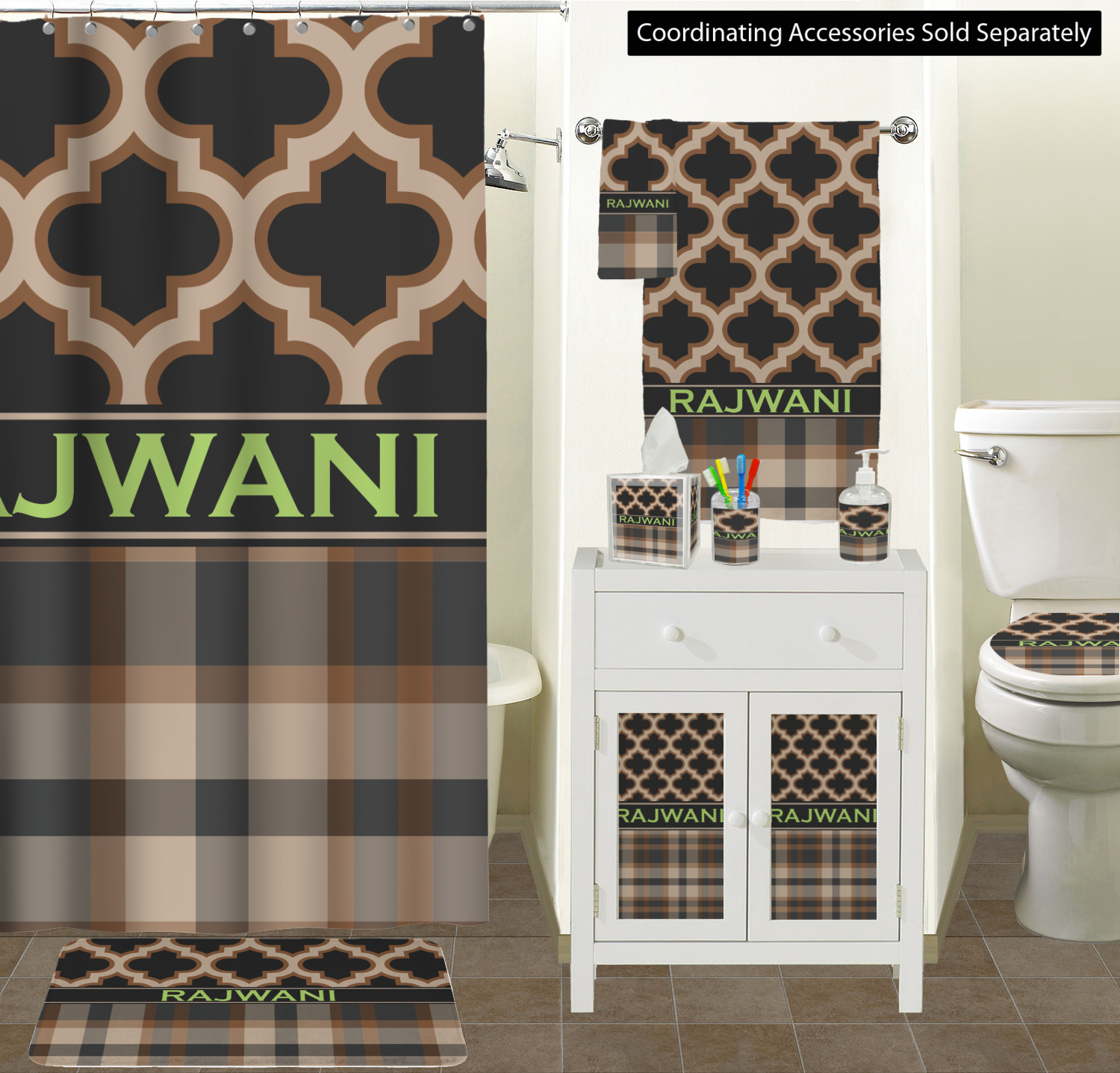 Moroccan Plaid Acrylic Bathroom Accessories Set W Name Or Text Youcustomizeit