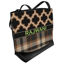 Moroccan & Plaid Beach Tote Bag (Personalized)
