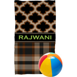 Moroccan & Plaid Beach Towel (Personalized)