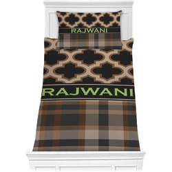 Moroccan & Plaid Comforter Set - Twin (Personalized)
