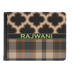Moroccan & Plaid Genuine Leather Men's Bi-fold Wallet (Personalized)