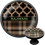Moroccan & Plaid Cabinet Knob (Black) (Personalized)
