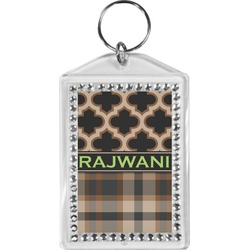 Moroccan & Plaid Bling Keychain (Personalized)