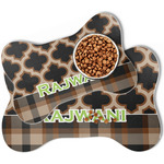Moroccan & Plaid Bone Shaped Dog Food Mat (Personalized)