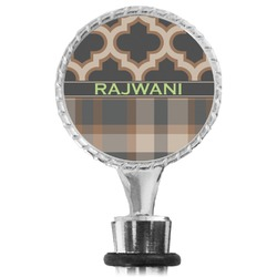 Moroccan & Plaid Wine Bottle Stopper (Personalized)